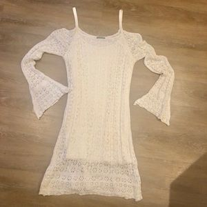 🆕 Cold Shoulder Slip w/ Crochet Style Overlay